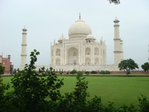 The Taj Mahal from a park bench