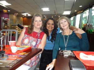 Gidget, Asha, me having a coffee