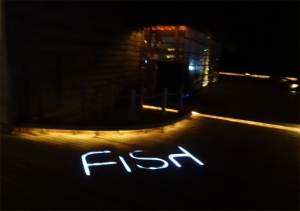 Outside Fish, at night