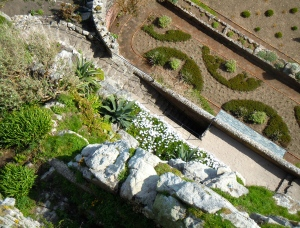 Looking down at the gardens